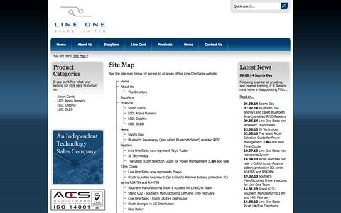 Screenshot of Site Map Page lineonesales.co.uk - Site Map | Line One Sales - captured Sept. 30, 2014