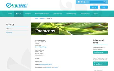 Screenshot of Contact Page arataiohi.org.nz - Contact us | Ara Taiohi - captured Feb. 14, 2016