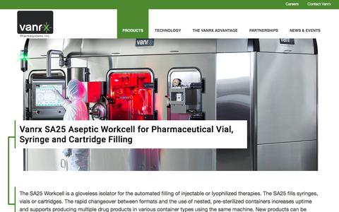 Screenshot of Products Page vanrx.com - SA25 Aseptic Workcell - Pharmaceutical Filler for Injectables - captured Dec. 3, 2016