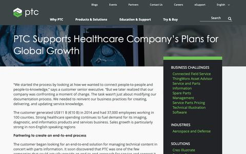 Screenshot of Case Studies Page ptc.com - PTC Supports Healthcare  Company's Plans for  Global Growth | PTC - captured Nov. 13, 2018