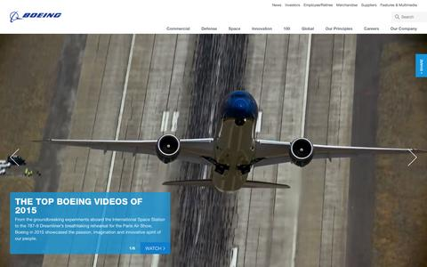 Screenshot of Home Page boeing.com - Boeing: The Boeing Company - captured Dec. 18, 2015