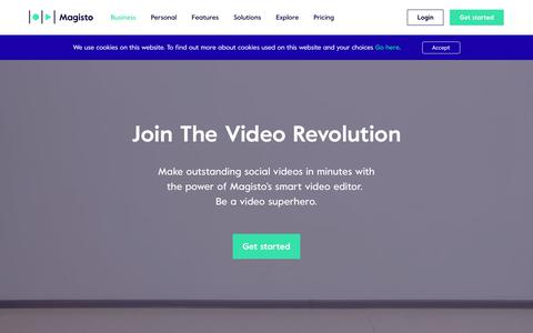 Screenshot of Home Page magisto.com - Online Video Editor | Smart Video Maker by Magisto - captured Oct. 12, 2018