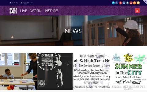Screenshot of Press Page albanybarn.org - News - Albany Barn, Inc. - captured Oct. 3, 2018