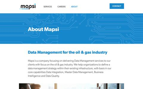 Screenshot of About Page mapsi.no - About - captured Oct. 16, 2018