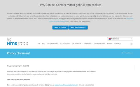 Screenshot of Privacy Page hmscontactcenters.nl - Privacy Statement - HMS Contact Centers - HMS Contact Centers - captured Nov. 4, 2018