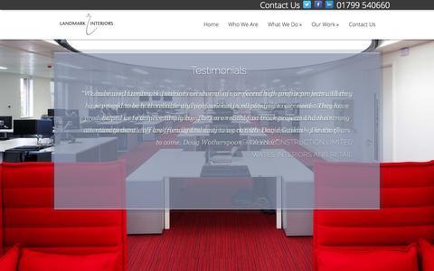 Screenshot of Testimonials Page landmarkinteriors.co.uk - Testimonials | Landmark Interiors - captured Oct. 1, 2014