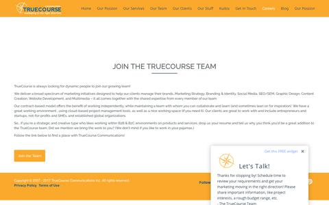 Screenshot of Jobs Page truecourse.ca - Join the TrueCourse Team - TrueCourse Communications - captured Nov. 14, 2017