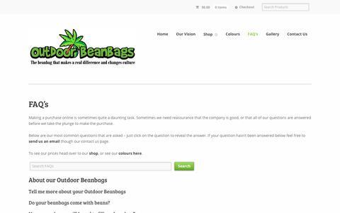 FAQ's - Outdoor Beanbags