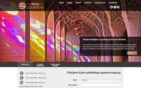 Screenshot of Contact Page maijourneys.com - Contact Us - Contact Keystone Journeys - captured Jan. 9, 2016
