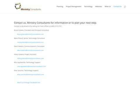 Screenshot of Contact Page ministryconsultants.com - Contact Us | Ministry Consultants | Church Consultants - captured June 14, 2016