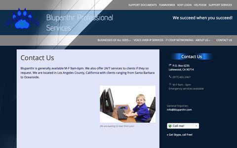 Screenshot of Contact Page blupanthr.com - Contact Us | Blupanthr Professional Services - captured Nov. 13, 2018