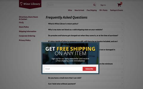 Frequently Asked Questions | Wine Library