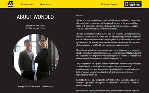 Screenshot of About Page wonolo.com - Work. Now. Locally. - captured Sept. 10, 2014