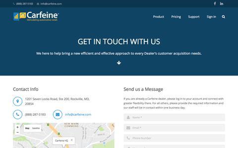 Screenshot of Contact Page carfeine.com - Contact - Carfeine - captured Oct. 23, 2016