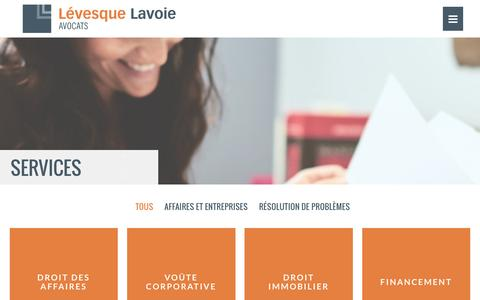 Screenshot of Services Page levesquelavoie.com - Services – Lévesque Lavoie Avocats inc. - captured Nov. 6, 2016