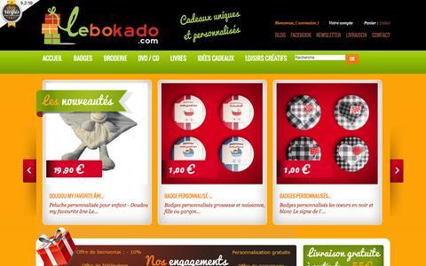 Screenshot of Home Page lebokado.com - Cadeaux personnalisés enfants - Idées cadeau personnalisé - Lebokado - captured Sept. 30, 2014