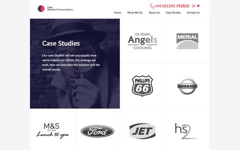 Screenshot of Case Studies Page ewagroup.com - EWA - Contact Centre Outsourcing, Dedicated Contact Centre Solutions - captured July 12, 2017