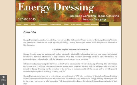Screenshot of Privacy Page energydressing.com - Energy Dressing Privacy Policy   Energy Dressing - captured Sept. 30, 2014