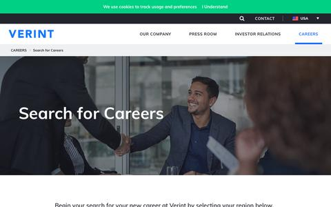 Screenshot of Jobs Page verint.com - Search for Careers - captured Nov. 26, 2018