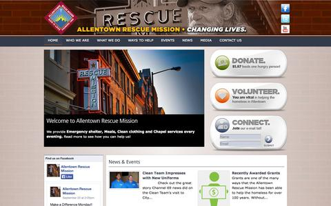 Screenshot of Home Page allentownrescuemission.org - Allentown Rescue Mission | Get Informed, Be Inspired! - captured Sept. 30, 2014