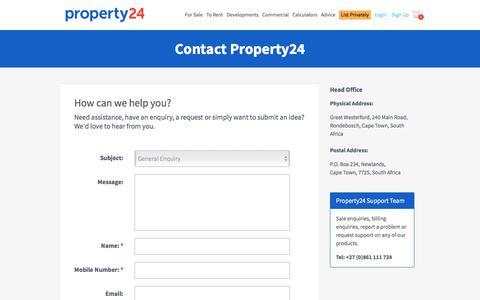 Screenshot of Contact Page property24.com - Contact Property24: Property24.com - captured Aug. 21, 2019