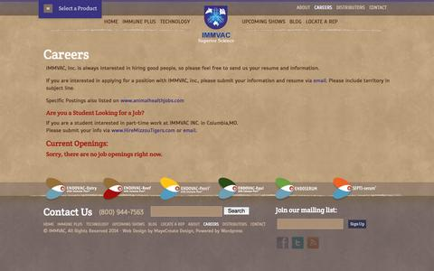 Screenshot of Jobs Page immvac.com - Careers | IMMVAC - captured Oct. 3, 2014