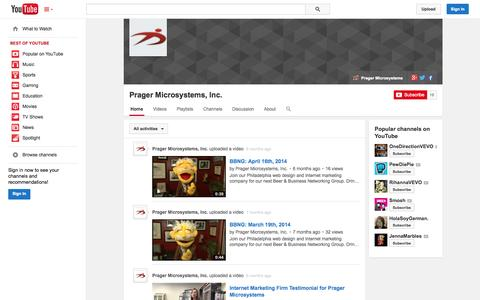 Screenshot of YouTube Page youtube.com - Prager Microsystems, Inc.  - YouTube - captured Oct. 22, 2014