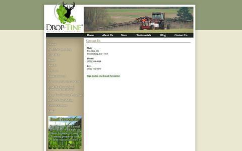 Screenshot of Contact Page droptinewildlife.com - Drop-Tine Wildlife Consulting - captured Oct. 5, 2014