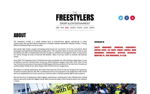 Screenshot of About Page the-freestylers.com - ABOUT - The Freestylers Sport Entertainment Agency - captured Oct. 26, 2014