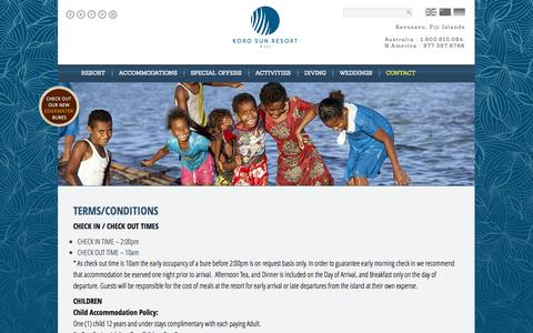 Screenshot of Terms Page korosunresort.com - Terms/Conditions   Koro Sun Resort - captured Oct. 6, 2014