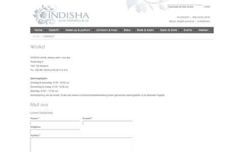 Screenshot of Contact Page indisha.nl - Magento Commerce - captured Oct. 3, 2014