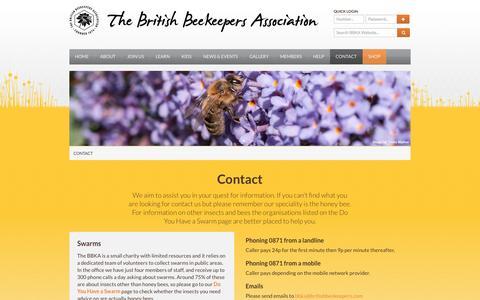 Screenshot of Contact Page bbka.org.uk - Contact - British Beekeepers Association (BBKA) - captured Sept. 22, 2014