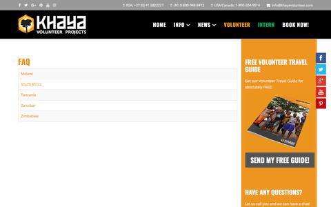 Screenshot of FAQ Page khayavolunteer.com - FAQ - Khaya Volunteer Projects - captured Oct. 17, 2017