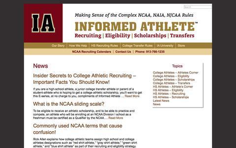 Screenshot of Press Page informedathlete.com - News | Informed Athlete - captured Oct. 29, 2014