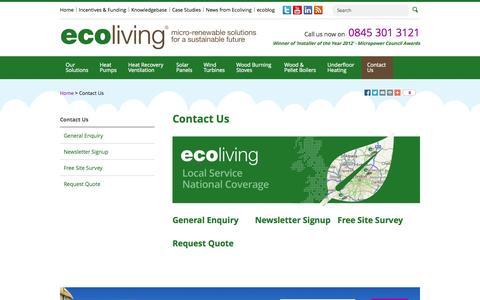 Screenshot of Contact Page ecolivinguk.com - Contact Us - captured Oct. 1, 2014