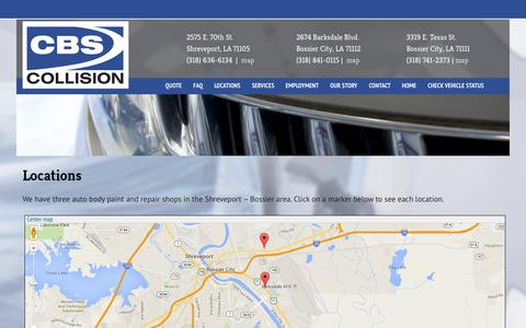 Screenshot of Locations Page cbscollision.com - CBS Collision |    Locations - captured Sept. 26, 2014