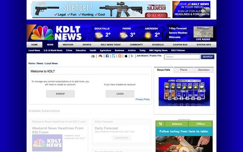 Screenshot of Login Page kdlt.com - | Local News  - Home - captured Jan. 9, 2016