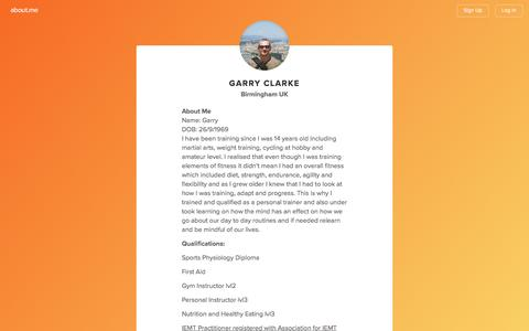 Screenshot of Contact Page about.me - Garry Clarke - Birmingham UK, Clinical Hypnotherapy, Life Coach, Personal Trainer, NLP, Tai Chi Chuan | about.me - captured Aug. 11, 2016