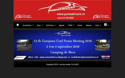 Screenshot of Home Page pumadrivers.nl - Al 15 jaar de site voor de echte liefhebber van de Ford Puma - captured Dec. 14, 2015