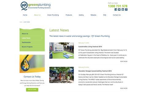 Screenshot of Press Page pjtgreenplumbing.com.au - Latest News - - captured July 15, 2018