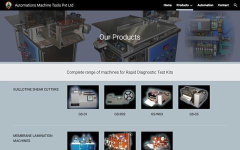 Screenshot of Products Page automationamt.com - Automations Machine Tools Pvt Ltd - Products - captured Oct. 4, 2018