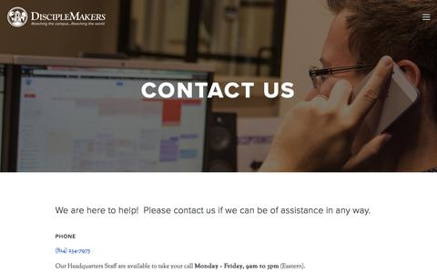 Screenshot of Contact Page dm.org - Contact Us — DiscipleMakers   Campus Ministry - captured Oct. 12, 2017