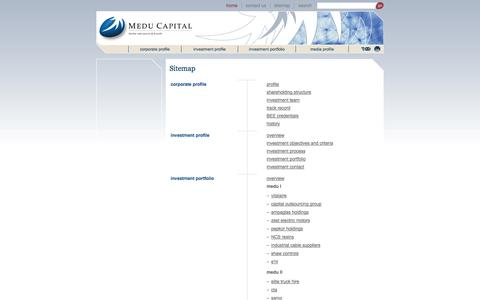 Screenshot of Site Map Page meducapital.co.za - Medu Capital - Sitemap - captured Oct. 27, 2014
