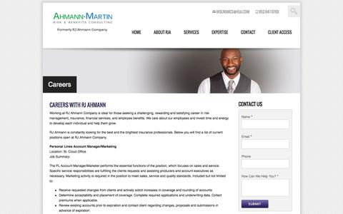 Screenshot of Jobs Page rja.com - RJ Ahmann Human Resources | Careers | Job Postings | Minneapolis MN Insurance Agency - captured Oct. 8, 2014