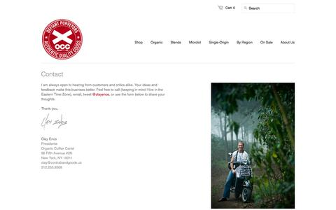 Screenshot of Contact Page organiccoffee.com - Organic Coffee Cartel - Happy, Independent, Uncompromising Coffee Roasters since 2007 - captured Oct. 7, 2014