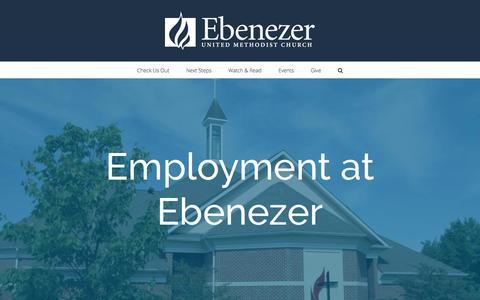 Screenshot of Jobs Page ebenezerumc.org - Employment at Ebenezer – Ebenezer United Methodist Church - captured Oct. 22, 2016
