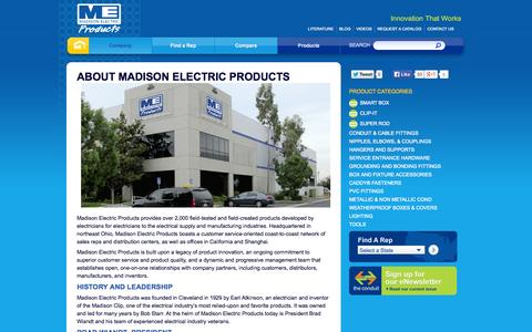 Screenshot of About Page meproducts.net - Madison Electric Products :: Exceptional Service, Efficient Delivery - captured Oct. 1, 2014