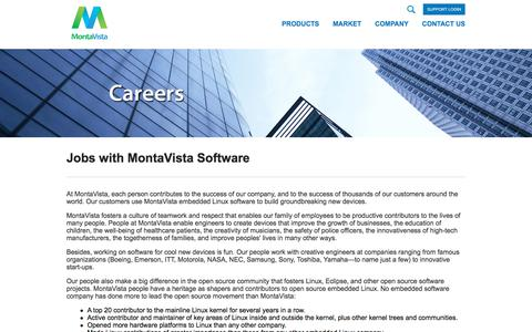 Screenshot of Jobs Page mvista.com - MontaVista embedded Linux software and development tools for intelligent devices and embedded systems - captured July 12, 2018
