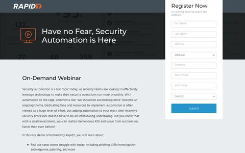 Screenshot of Landing Page rapid7.com - Have No Fear, Security Automation Is Here - captured Sept. 12, 2018