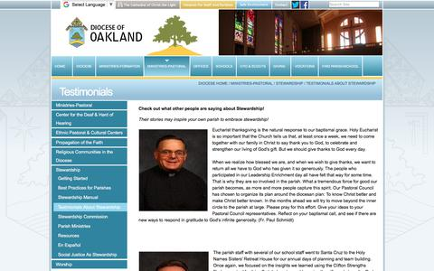 Screenshot of Testimonials Page oakdiocese.org - Testimonials — Oakland Diocese - captured Oct. 12, 2017